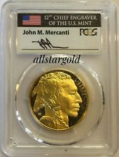 2018-W $50 1oz Proof Gold Buffalo PR70 PCGS MERCANTI First day of issue