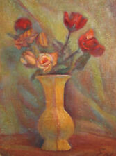 Vintage European oil painting still life with flowers signed
