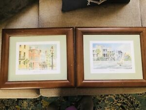 Charleston SC  Rainbow Row High Battery Lot 2 Emerson Watercolor Wood Pictures