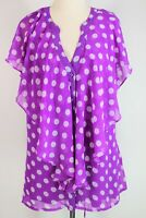 City Chic purple & white spot sleeveless blouse + cami - NWOT - S (18)