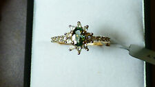 Green Sapphire Halo Gold Ring