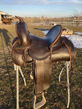 "Antique / vintage Miles City 13"" high back Western cowboy ranch saddle"
