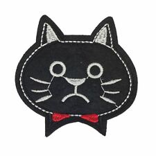 Upset Cat Head (Iron On) Embroidery Applique Patch Sew Iron Badge