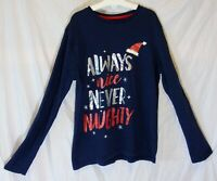 Boys Girls George Blue Always Nice Naughty Xmas Long Sleeve Top Age 6-7 Years