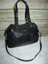 COACH Ashley Black Leather Python Trim Purse Shoulder Bag Satchel Tote F20104