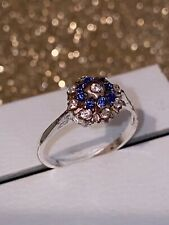 925 Sterling Silver Sapphire Deco Vintage Cluster Ring Size N