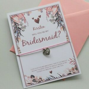 PERSONALISED Will You Be My BRIDESMAID Proposal Card | Bracelet Gift Flower Girl