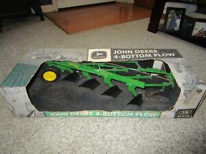 John Deere Farm Toy Rare 1/8th Scale NIB 4 Bottom Tillage Plow Semi Mounted