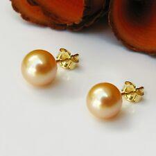 Ohrringe Echt 585 / 14kt Gold Ohrstecker Perlen Goldfarbe 7,3-7,5mm