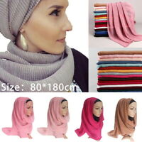 Fashion Women Plain Bubble Chiffon Islamic Muslim Hijab Lady Wrap Shawl Scarf