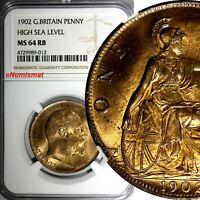 GREAT BRITAIN Edward VII Bronze 1902 1 Penny NGC MS64 RB HIGH SEA  KM# 794.2
