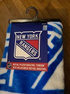 "Licensed Hockey New York Rangers Fleece Throw Blanket 50"" x 60"" NWT"
