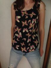 Womens Tank Sleeveless Top Butterfly Print Size M