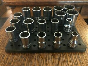 "Snap-On 1/2"" drive 12pt and 6pt short SAE and (3)MM,     CHROME SOCKETS (6)"