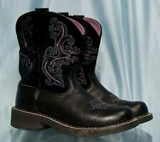 Extremely Nice Black Suede and Leather ARIAT FATBABY Western Boots Sz 7B