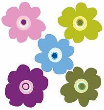 Pop Flowers 25 Wallies Wall Stickers Pink Purple Blue Decals Retro Girls Border