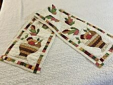 Vintage Hand Crafted & Quilted Basket of Fruit & Autumn Leaves Quilt Runner
