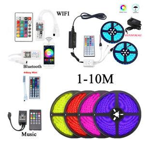 1-10M 5050 RGB 60LEDs/M LED Strip Lights Flexible+WiFi 24 Key Remote & 12V Power