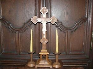 Rarität großes über 50 Jahre altes Eichenholz Kreuz mit Kerzenleuchter massiv
