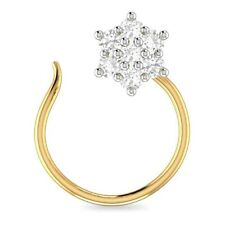 14K Yellow Gold Over Round Cubic Zirconia Nose Ring Cluster Pin Everyday Use