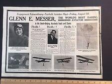 RARE Aviation Stunt Glenn MESSER Phoebe Fairgraves 1921 Fairfield Iowa Broadside