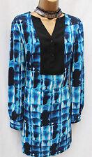 Karen Millen Blue Black White Multi Work Office Day Shirt Shift Dress 12-14 UK