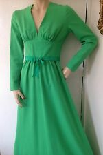 1960s 1970s VINTAGE LAURA LEE GREEN LONG EVENING DRESS PARTY WEDDING BOHO HIPPIE