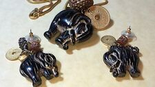 Antique Art Deco Gold Rope Necklace W/Elephant Pendent & Earrings Beautiful Set