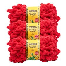 Lion Brand Yarn 3004-113 Crayola Off the Hook Yarn, Red (Pack of 3)