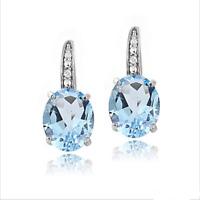 Gorgeous Oval Cut Aquamarine Leverback  Stud Earrings 925 Silver Wedding Jewelry