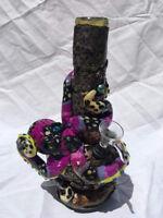 "Custom Handmade Steampunk 6"" Purple Octopus Water Pipe Bong Bowl Glass Bubbler"