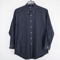 Mens Polo Ralph Lauren Yarmouth Blue Plaid Oxford Golf Dress Shirt Size 16 32/33