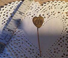 Antique Monogram 10k Yellow Gold Heart Stick Pin Hat Pin