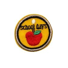 ID 0966A Apple School Days Pendant Teacher Embroidered Iron On Applique Patch