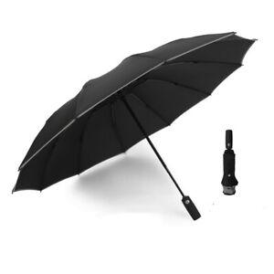 Night reflective Folding Travel Windproof 12 Ribs Automatic Reverse Umbrellas