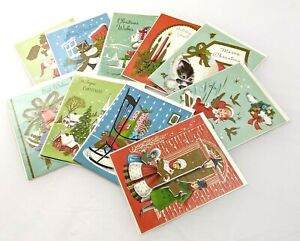 Vintage Christmas Holiday Cards Lithograph USA Set of 10 Embossed Med Century