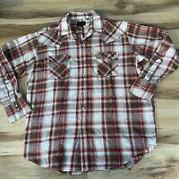Vintage Plains Western Wear Plaid Button Up Pearl Snap Shirt Men's XL
