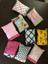 Individual Handmade doll pillows with pillowcases; assorted sizes and colors;
