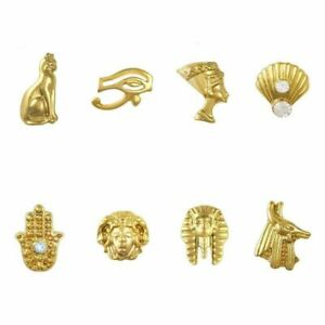 10Pcs Egyptian Nail Art Charms Gold Alloy Cat Hand Egyptian Style 3D Decorations