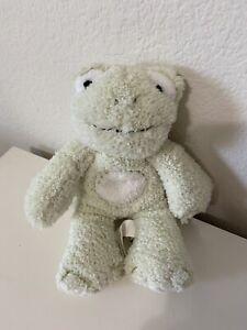 """Pottery Barn Kids Green Frog Chamois Stitching PBK 7"""" Plush Stuffed Animal Lovey"""
