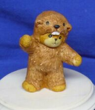 "Enesco Lucy & Me Figurine Teddy Bear as Beaver 1992 Artist Lucy Rigg 2-3/4"" High"