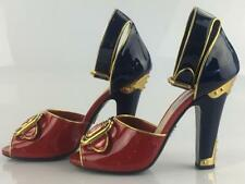 Prada $1190 Runway Patent Leather ankle strap sandal shoes Red/blue 37 7 NEW