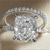 Luxury Oval Cut White Sapphire CZ Couples Ring Set 925 Silver Wedding Jewelry