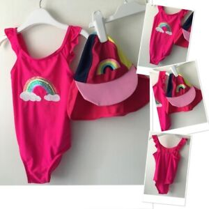 Prk Girls Exc Used Rainbow Sequin Swim Suit & Tu Sun Hat Swim Neck Flap 4-5 Year