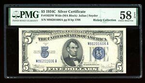 DBR $5 1934-C Silver Fr. 1653W MA Block Wide PMG 58 EPQ Serial M86201606A