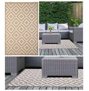 Geo Stone Design Lightweight Rug Runner Area Mat Outdoor/Indoor Summer Garden