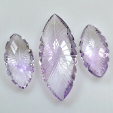 Natural Amethyst Laser Checkered Marquise Cut Carving Set 51.90 Cts Gemstones