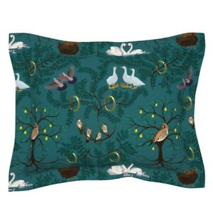 Holiday Partridge Hen Swan Golden Rings 12 Days Of Pillow Sham by Roostery