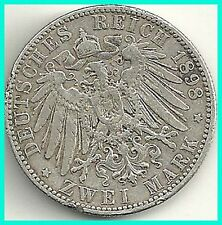 GERMANY - 1898 -E -   SACHSEN 2DM SILVER COIN. RARE !!.