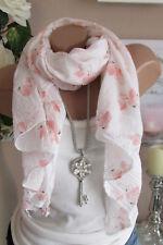 PAÑUELO DE SEDA bufanda blanco rosa FLAMENCOS ALGODÓN NOBLE lujo ITALY